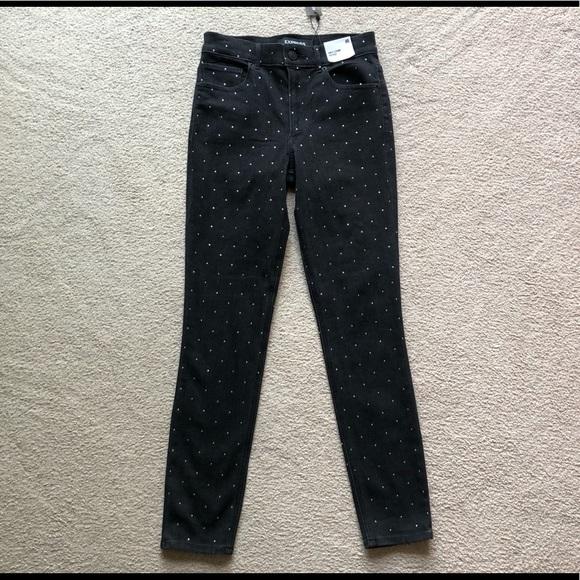 Express High Rise Rhinestone Studded Legging Jeans